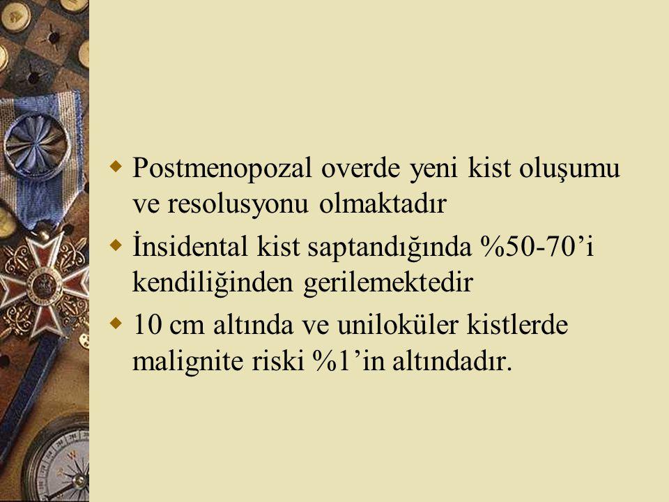  Postmenopozal overde yeni kist oluşumu ve resolusyonu olmaktadır  İnsidental kist saptandığında %50-70'i kendiliğinden gerilemektedir  10 cm altın