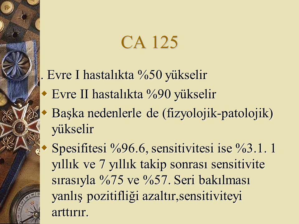 CA 125. Evre I hastalıkta %50 yükselir  Evre II hastalıkta %90 yükselir  Başka nedenlerle de (fizyolojik-patolojik) yükselir  Spesifitesi %96.6, se