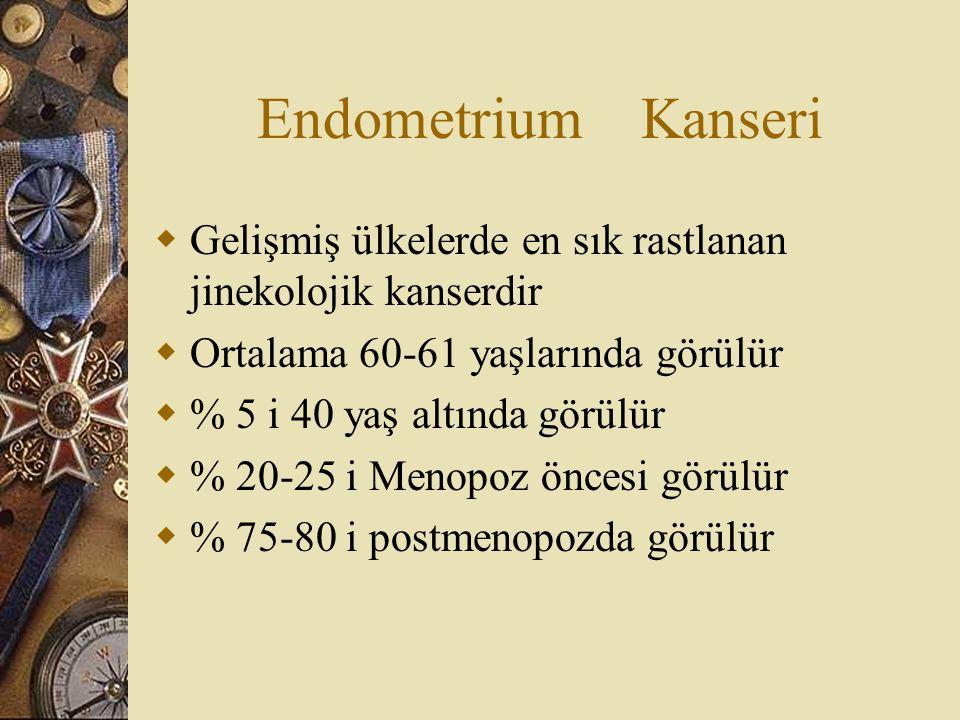 Endometrium Kanseri  Gelişmiş ülkelerde en sık rastlanan jinekolojik kanserdir  Ortalama 60-61 yaşlarında görülür  % 5 i 40 yaş altında görülür  %