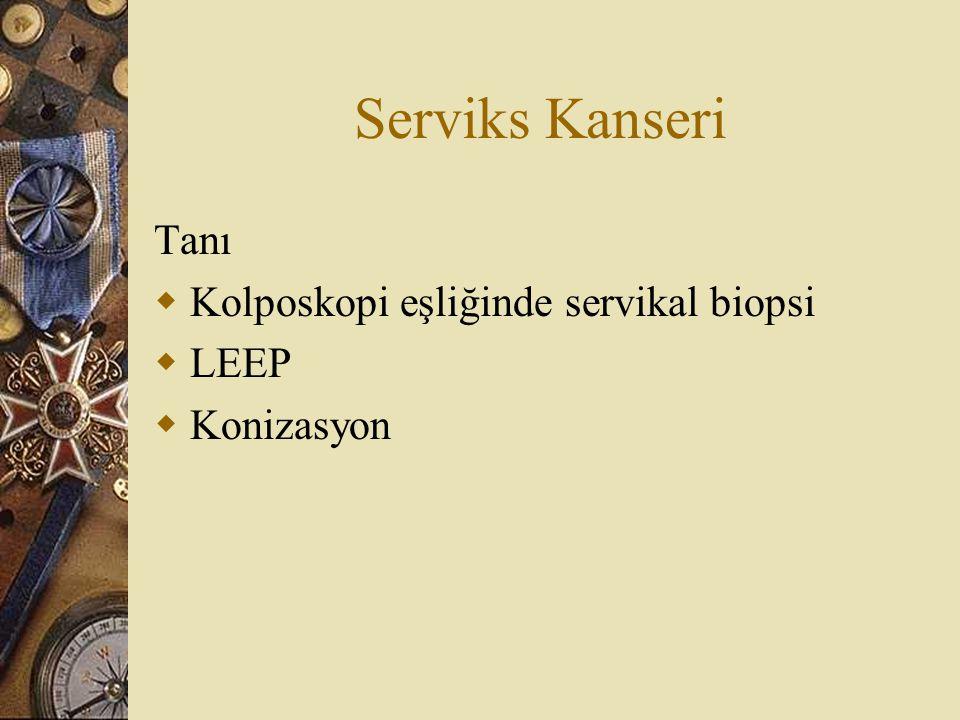 Serviks Kanseri Tanı  Kolposkopi eşliğinde servikal biopsi  LEEP  Konizasyon