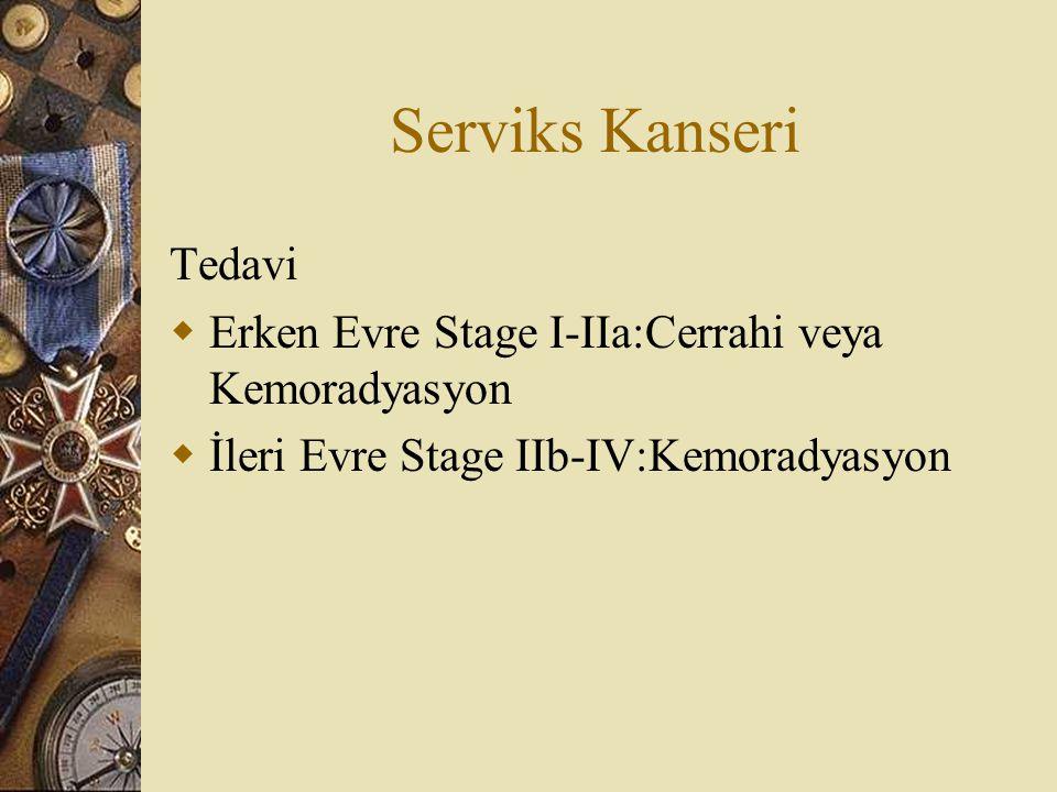 Serviks Kanseri Tedavi  Erken Evre Stage I-IIa:Cerrahi veya Kemoradyasyon  İleri Evre Stage IIb-IV:Kemoradyasyon