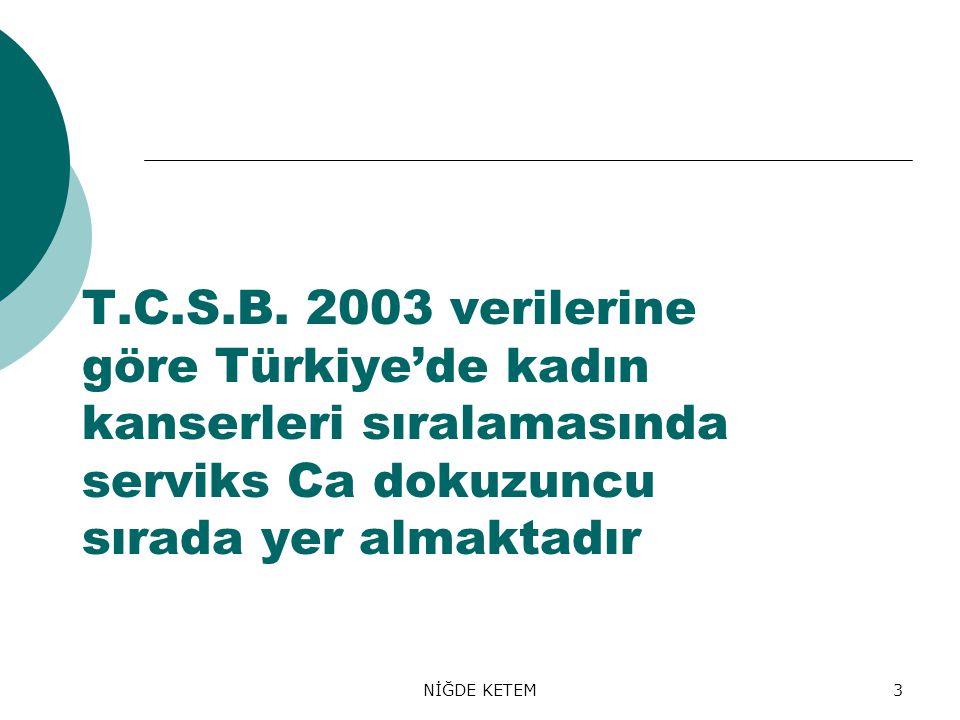 NİĞDE KETEM3 T.C.S.B. 2003 verilerine göre Türkiye'de kadın kanserleri sıralamasında serviks Ca dokuzuncu sırada yer almaktadır