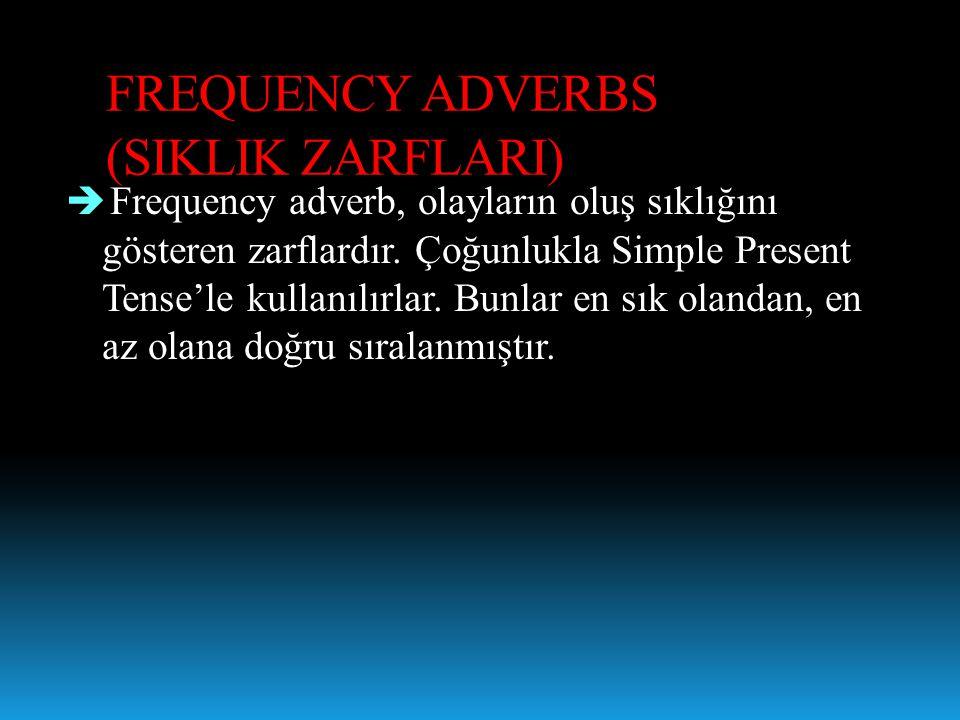 FREQUENCY ADVERBS (SIKLIK ZARFLARI)  Frequency adverb, olayların oluş sıklığını gösteren zarflardır. Çoğunlukla Simple Present Tense'le kullanılırlar