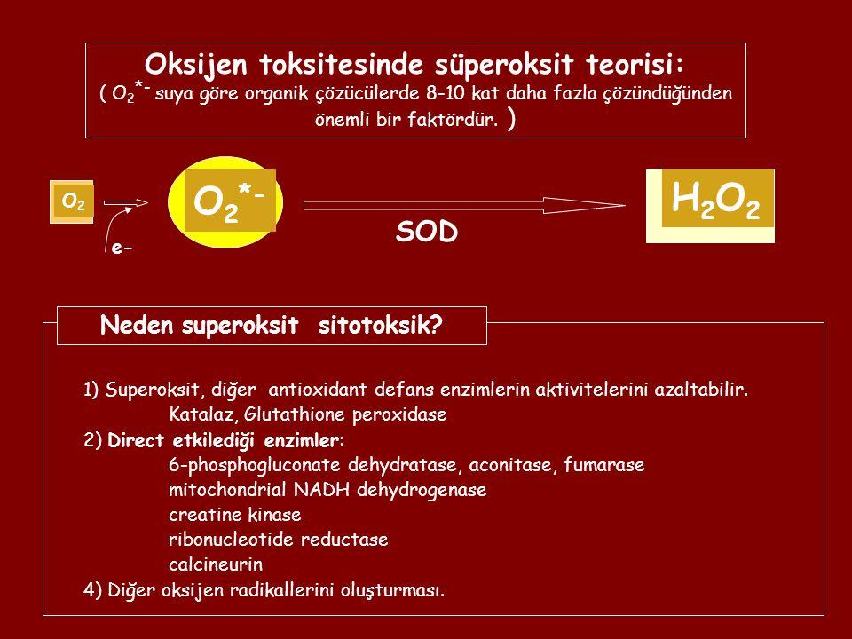 O2O2 O 2 *- e- Oksijen toksitesinde süperoksit teorisi: ( O 2 *- suya göre organik çözücülerde 8-10 kat daha fazla çözündüğünden önemli bir faktördür.
