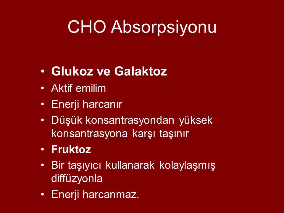CHO Absorpsiyonu Glukoz ve Galaktoz Aktif emilim Enerji harcanır Düşük konsantrasyondan yüksek konsantrasyona karşı taşınır Fruktoz Bir taşıyıcı kullanarak kolaylaşmış diffüzyonla Enerji harcanmaz.