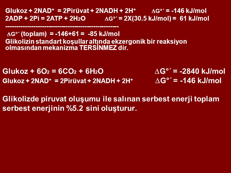 Glukoz + 6O 2 = 6CO 2 + 6H 2 O  G°´ = -2840 kJ/mol Glukoz + 2NAD + = 2Pirüvat + 2NADH + 2H +  G°´ = -146 kJ/mol Glikolizde piruvat oluşumu ile salınan serbest enerji toplam serbest enerjinin %5.2 sini oluşturur.