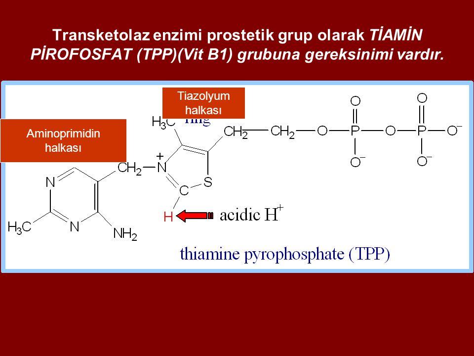 Transketolaz enzimi prostetik grup olarak TİAMİN PİROFOSFAT (TPP)(Vit B1) grubuna gereksinimi vardır.