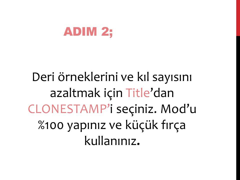 ADIM 2; Deri örneklerini ve kıl sayısını azaltmak için Title'dan CLONESTAMP'i seçiniz.