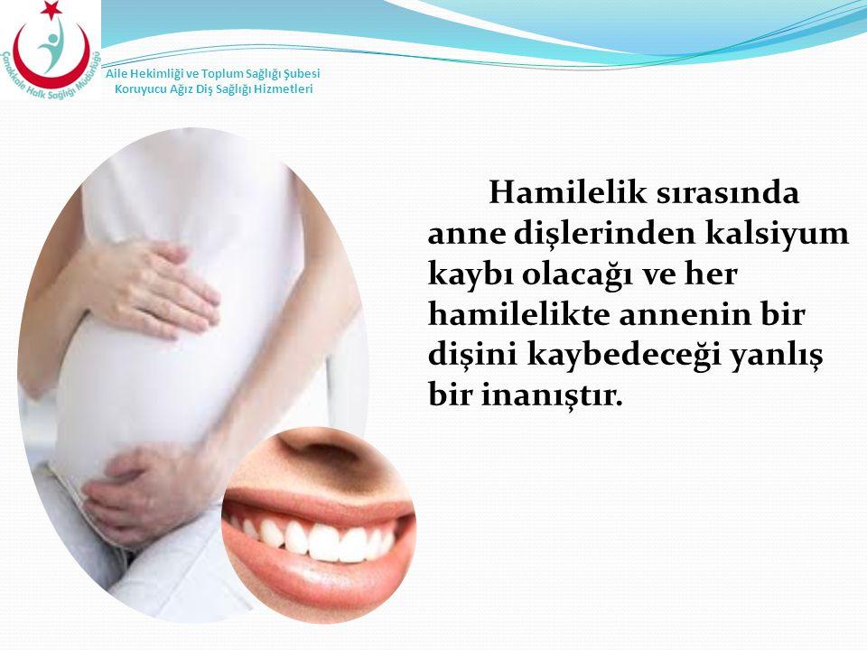 Hamilelik sırasında anne dişlerinden kalsiyum kaybı olacağı ve her hamilelikte annenin bir dişini kaybedeceği yanlış bir inanıştır.