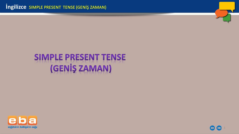1 İngilizce SIMPLE PRESENT TENSE (GENİŞ ZAMAN)