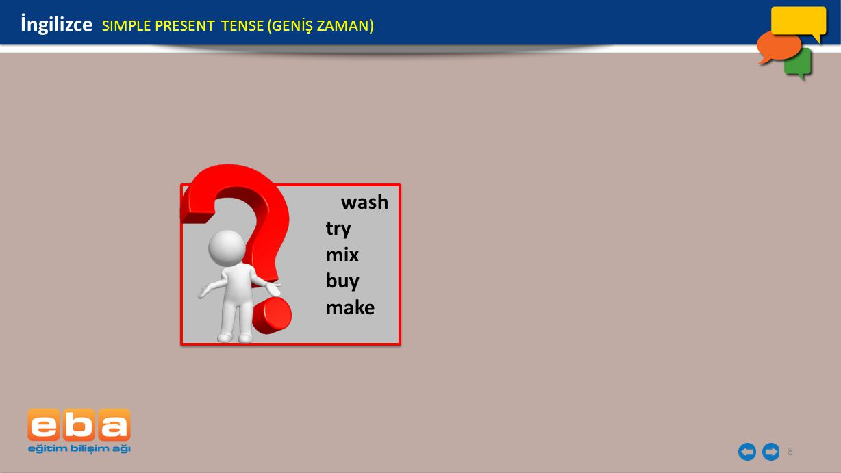8 wash try mix buy make wash try mix buy make İngilizce SIMPLE PRESENT TENSE (GENİŞ ZAMAN)