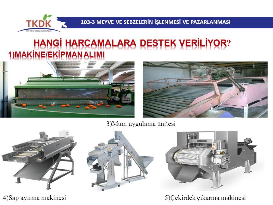 103-3 MEYVE VE SEBZELERİN İŞLENMESİ VE PAZARLANMASI 3)Mum uygulama ünitesi 4)Sap ayırma makinesi 5)Çekirdek çıkarma makinesi