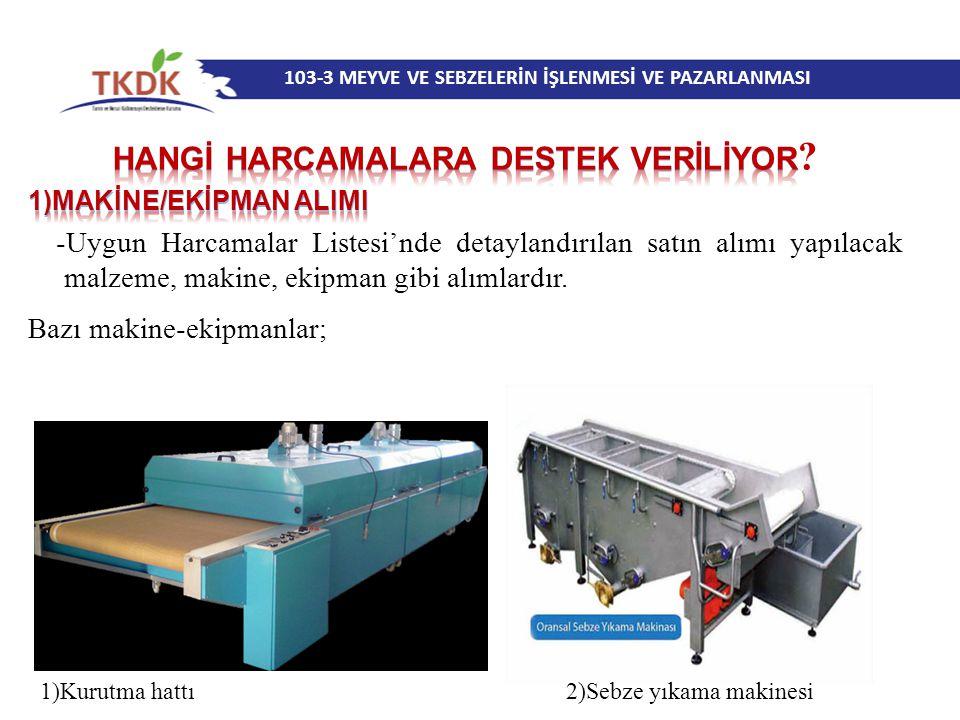 103-3 MEYVE VE SEBZELERİN İŞLENMESİ VE PAZARLANMASI 1)Kurutma hattı 2)Sebze yıkama makinesi