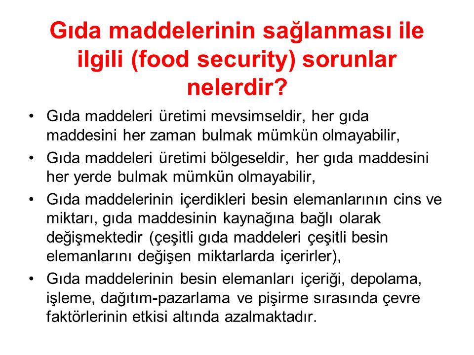 Gıda maddelerinin sağlanması ile ilgili (food security) sorunlar nelerdir.