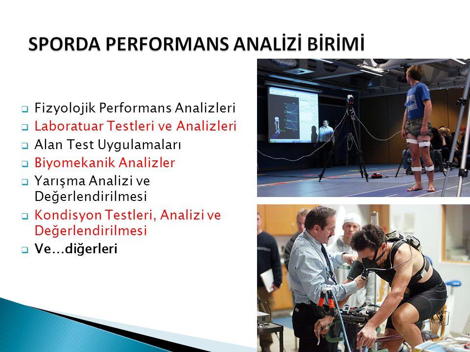  Fizyolojik Performans Analizleri  Laboratuar Testleri ve Analizleri  Alan Test Uygulamaları  Biyomekanik Analizler  Yarışma Analizi ve Değerlend