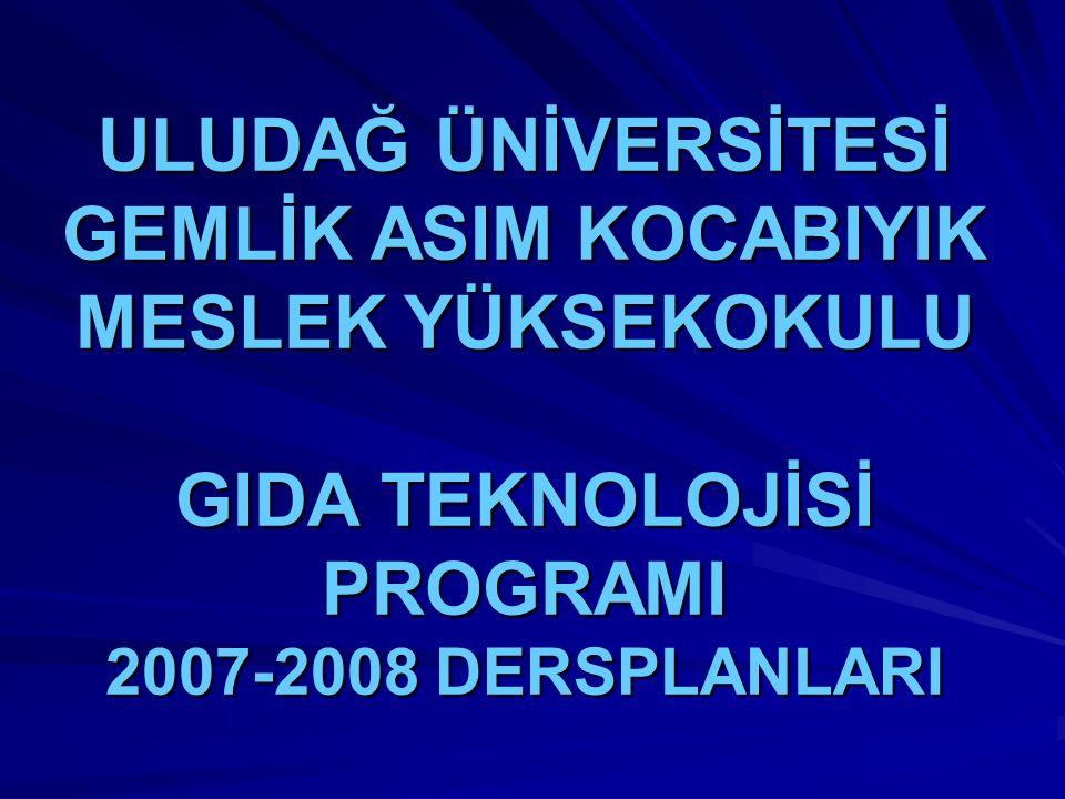 ULUDAĞ ÜNİVERSİTESİ GEMLİK ASIM KOCABIYIK MESLEK YÜKSEKOKULU GIDA TEKNOLOJİSİ PROGRAMI 2007-2008 DERSPLANLARI