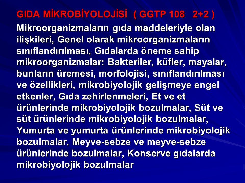 GIDA MİKROBİYOLOJİSİ ( GGTP 108 2+2 ) Mikroorganizmaların gıda maddeleriyle olan ilişkileri, Genel olarak mikroorganizmaların sınıflandırılması, Gıdal