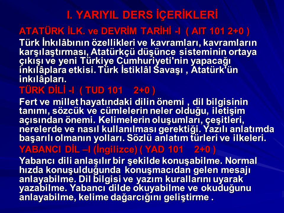 I. YARIYIL DERS İÇERİKLERİ ATATÜRK İLK. ve DEVRİM TARİHİ -I ( AIT 101 2+0 ) Türk İnkılâbının özellikleri ve kavramları, kavramların karşılaştırması, A