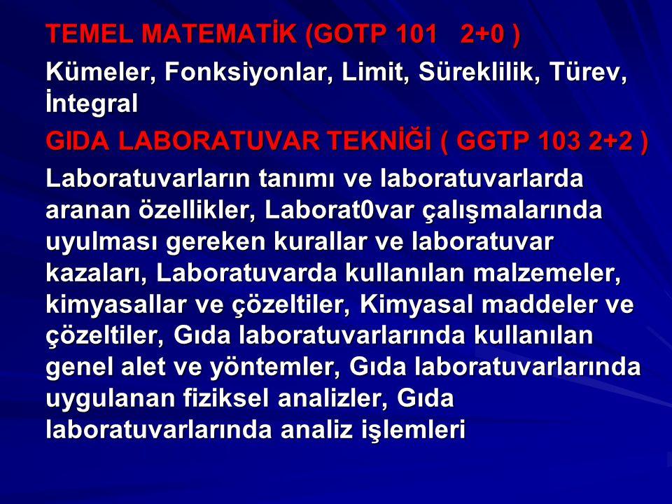 TEMEL MATEMATİK (GOTP 101 2+0 ) Kümeler, Fonksiyonlar, Limit, Süreklilik, Türev, İntegral GIDA LABORATUVAR TEKNİĞİ ( GGTP 103 2+2 ) Laboratuvarların t