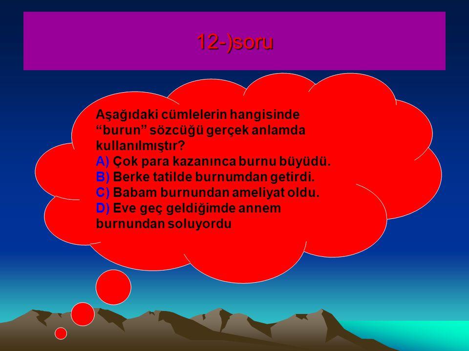 12-)soru Aşağıdaki cümlelerin hangisinde burun sözcüğü gerçek anlamda kullanılmıştır.