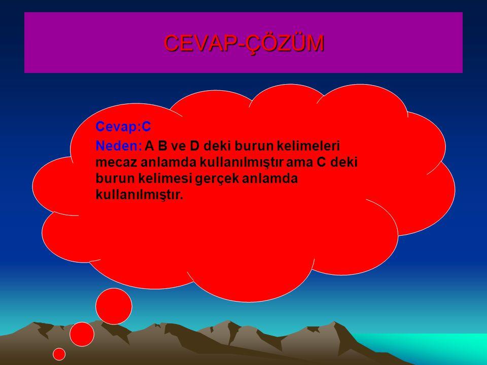 CEVAP-ÇÖZÜM Cevap:C Neden: A B ve D deki burun kelimeleri mecaz anlamda kullanılmıştır ama C deki burun kelimesi gerçek anlamda kullanılmıştır.