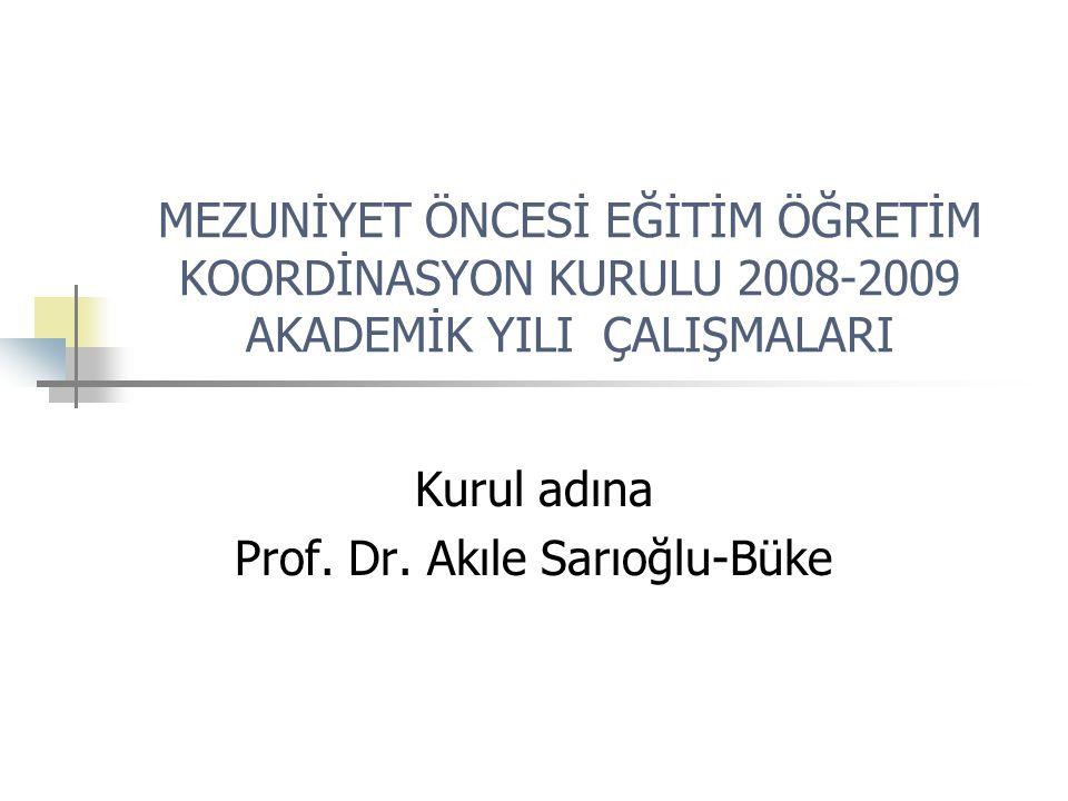 MEZUNİYET ÖNCESİ EĞİTİM ÖĞRETİM KOORDİNASYON KURULU 2008-2009 AKADEMİK YILI ÇALIŞMALARI Kurul adına Prof. Dr. Akıle Sarıoğlu-Büke