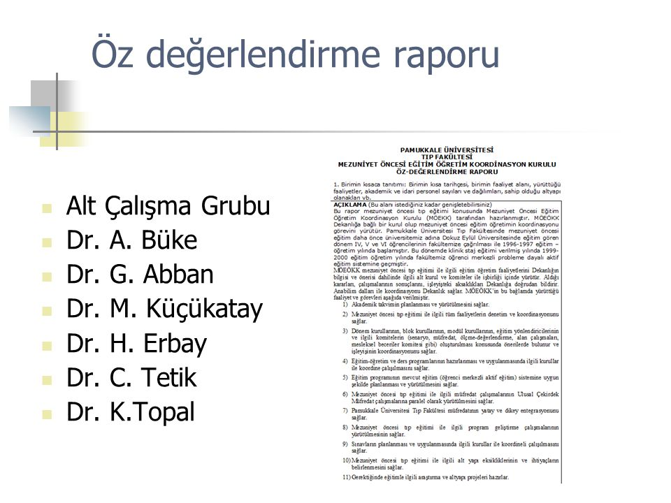Öz değerlendirme raporu Alt Çalışma Grubu Dr. A. Büke Dr. G. Abban Dr. M. Küçükatay Dr. H. Erbay Dr. C. Tetik Dr. K.Topal