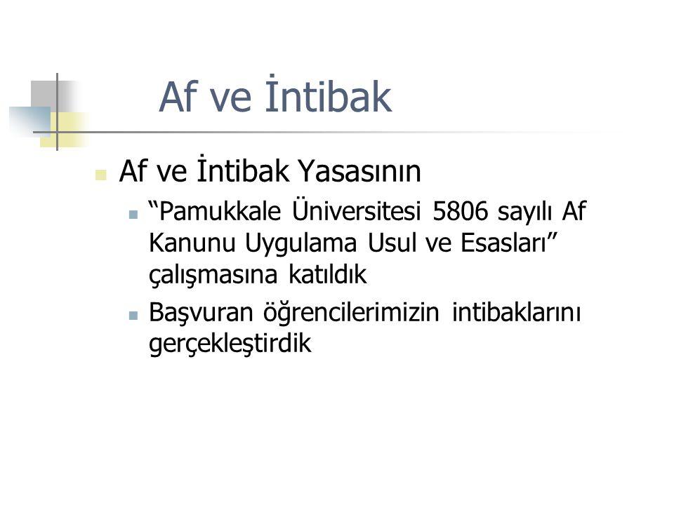 """Af ve İntibak Af ve İntibak Yasasının """"Pamukkale Üniversitesi 5806 sayılı Af Kanunu Uygulama Usul ve Esasları"""" çalışmasına katıldık Başvuran öğrencile"""