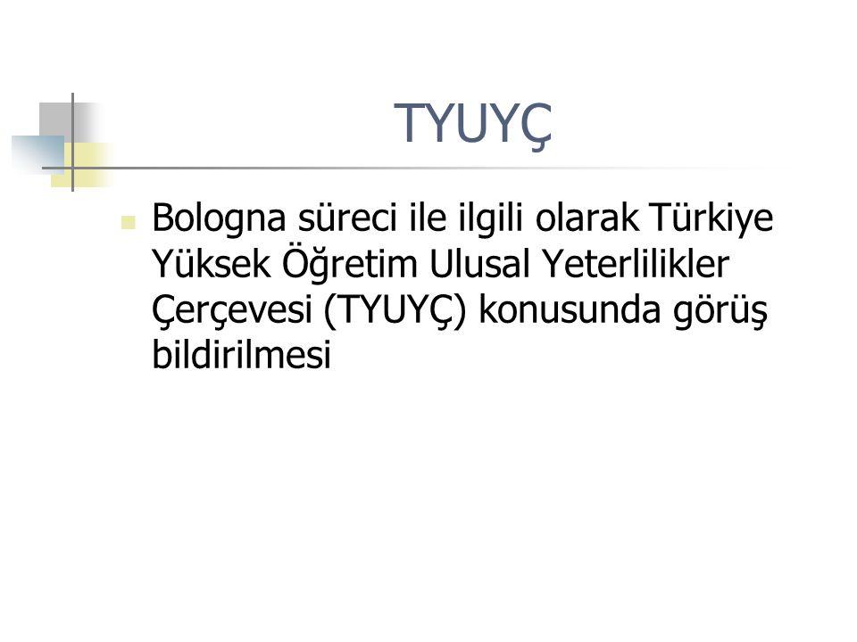 TYUYÇ Bologna süreci ile ilgili olarak Türkiye Yüksek Öğretim Ulusal Yeterlilikler Çerçevesi (TYUYÇ) konusunda görüş bildirilmesi