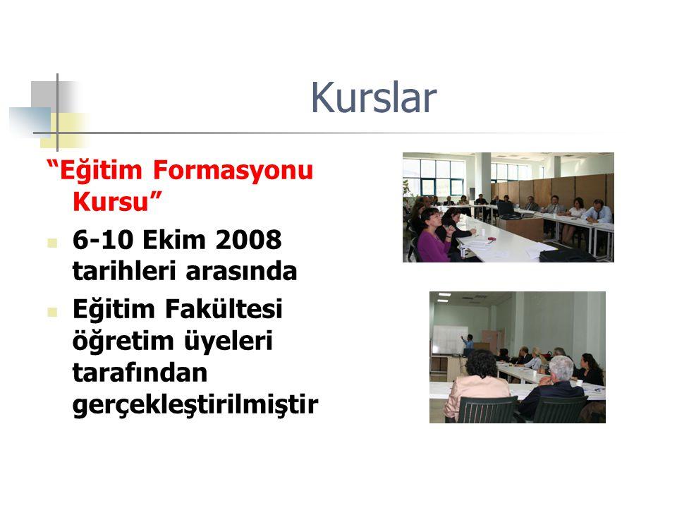 """Kurslar """"Eğitim Formasyonu Kursu"""" 6-10 Ekim 2008 tarihleri arasında Eğitim Fakültesi öğretim üyeleri tarafından gerçekleştirilmiştir"""