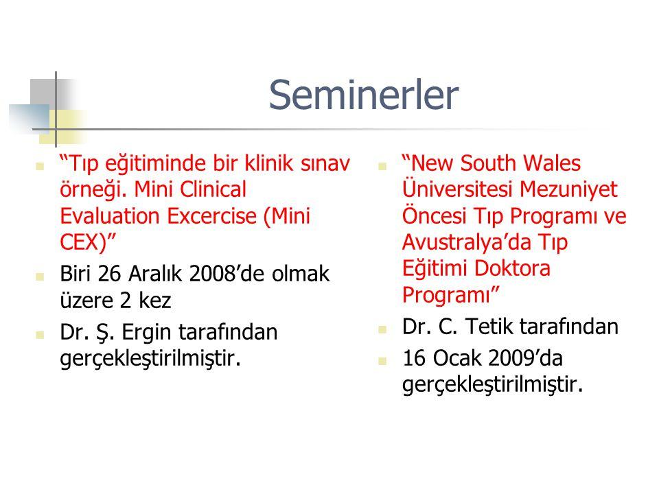 """Seminerler """"Tıp eğitiminde bir klinik sınav örneği. Mini Clinical Evaluation Excercise (Mini CEX)"""" Biri 26 Aralık 2008'de olmak üzere 2 kez Dr. Ş. Erg"""