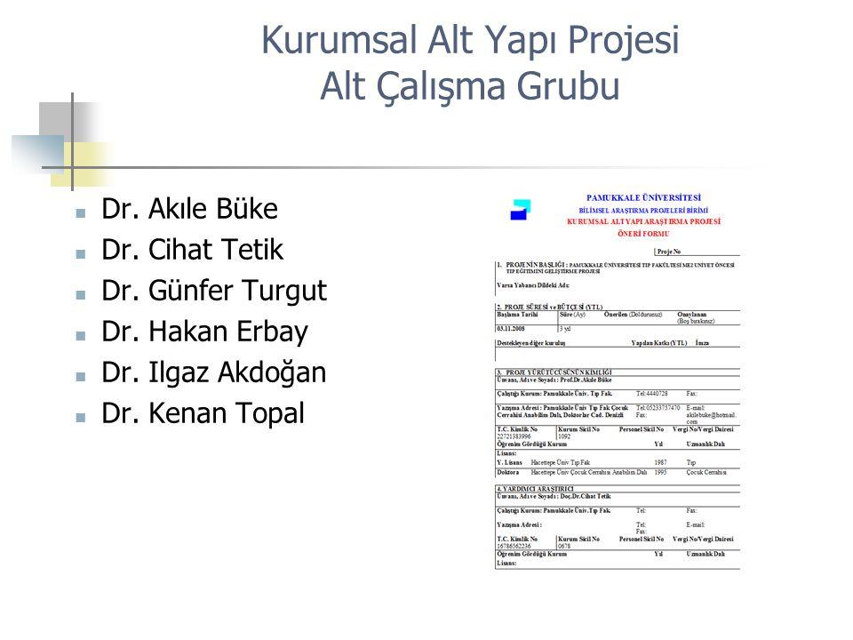 Kurumsal Alt Yapı Projesi Alt Çalışma Grubu Dr. Akıle Büke Dr. Cihat Tetik Dr. Günfer Turgut Dr. Hakan Erbay Dr. Ilgaz Akdoğan Dr. Kenan Topal