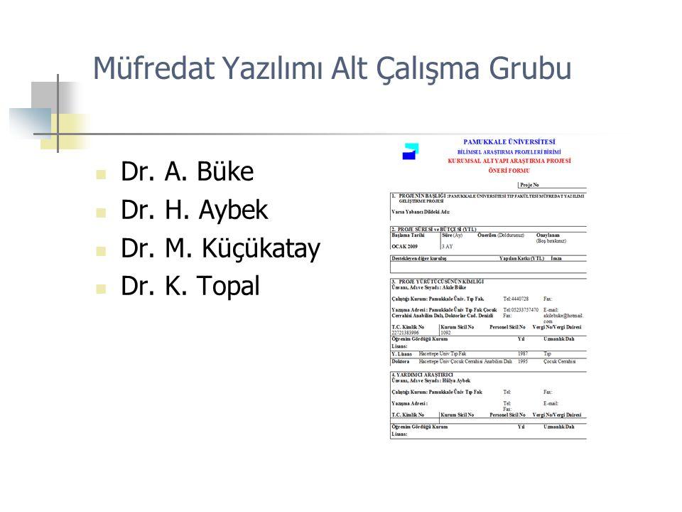 Müfredat Yazılımı Alt Çalışma Grubu Dr. A. Büke Dr. H. Aybek Dr. M. Küçükatay Dr. K. Topal