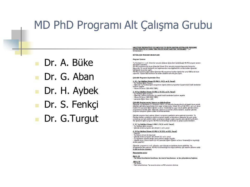 MD PhD Programı Alt Çalışma Grubu Dr. A. Büke Dr. G. Aban Dr. H. Aybek Dr. S. Fenkçi Dr. G.Turgut