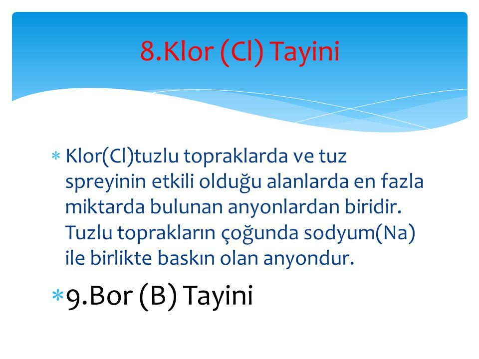  Klor(Cl)tuzlu topraklarda ve tuz spreyinin etkili olduğu alanlarda en fazla miktarda bulunan anyonlardan biridir. Tuzlu toprakların çoğunda sodyum(N