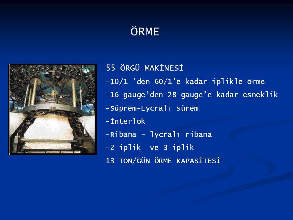 ÖRME 55 ÖRGÜ MAKİNESİ -10/1 'den 60/1'e kadar iplikle örme -16 gauge'den 28 gauge'e kadar esneklik -Süprem-Lycralı sürem -İnterlok -Ribana - lycralı ribana -2 iplik ve 3 iplik 13 TON/GÜN ÖRME KAPASİTESİ