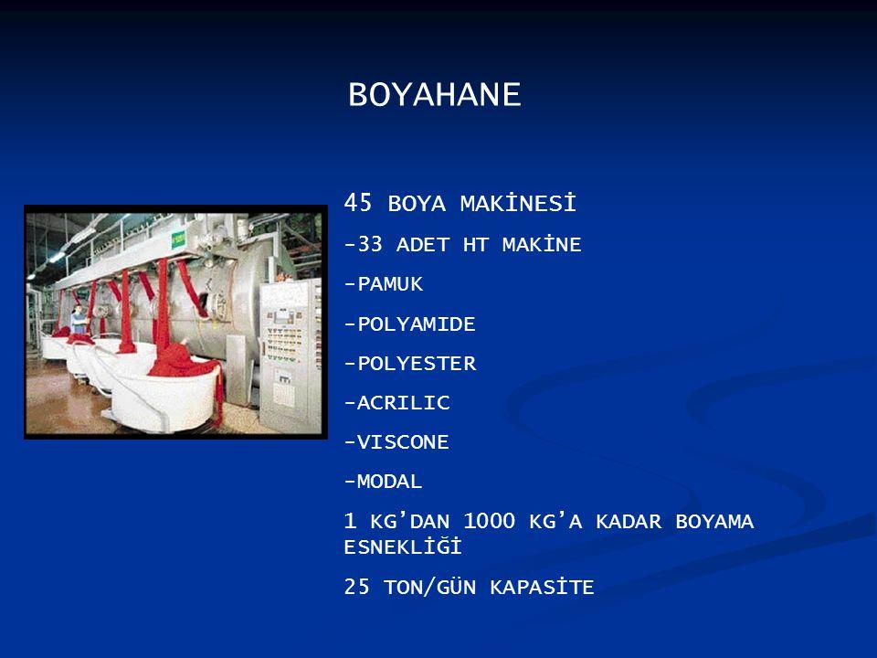 BOYAHANE 45 BOYA MAKİNESİ -33 ADET HT MAKİNE -PAMUK -POLYAMIDE -POLYESTER -ACRILIC -VISCONE -MODAL 1 KG'DAN 1000 KG'A KADAR BOYAMA ESNEKLİĞİ 25 TON/GÜN KAPASİTE