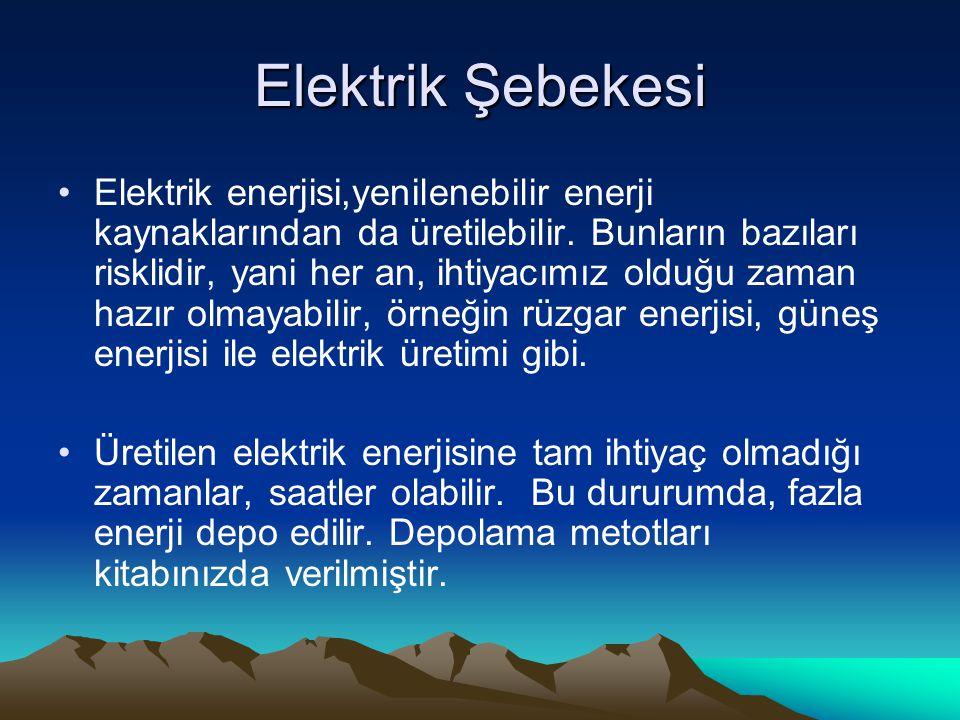 Elektrik Şebekesi Elektrik enerjisi,yenilenebilir enerji kaynaklarından da üretilebilir.