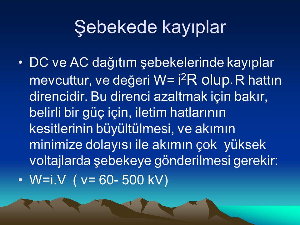 Şebekede kayıplar DC ve AC dağıtım şebekelerinde kayıplar mevcuttur, ve değeri W= i 2 R olup, R hattın direncidir.
