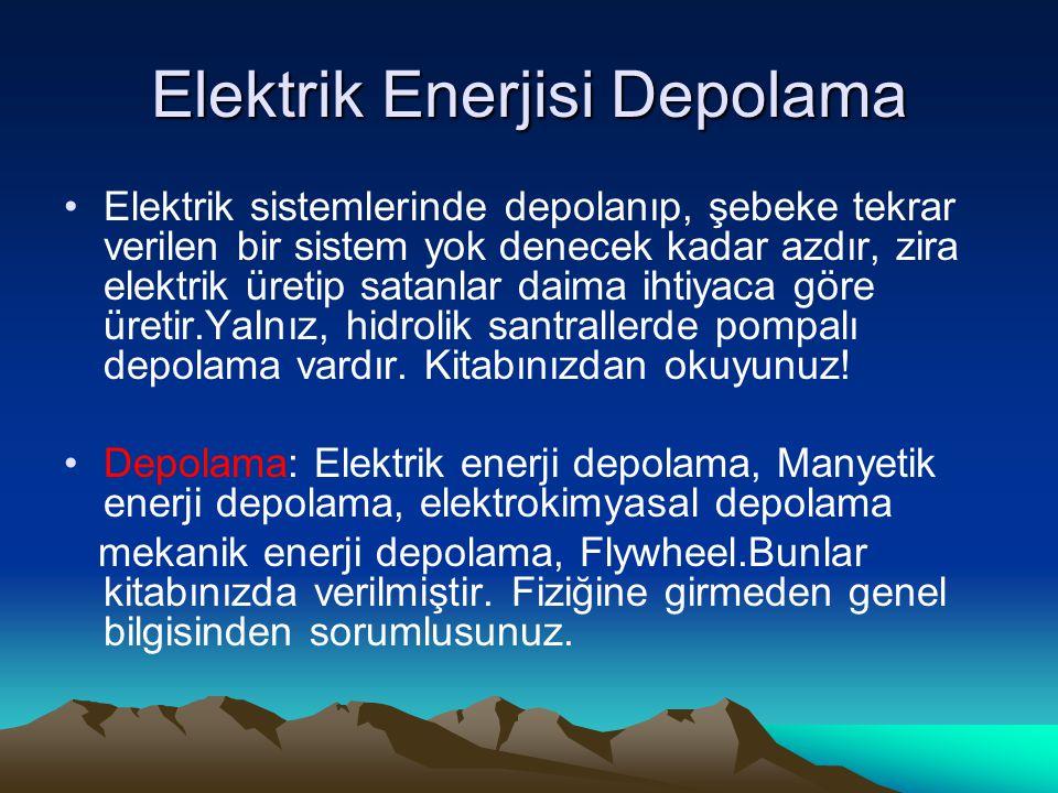 Elektrik Enerjisi Depolama Elektrik sistemlerinde depolanıp, şebeke tekrar verilen bir sistem yok denecek kadar azdır, zira elektrik üretip satanlar daima ihtiyaca göre üretir.Yalnız, hidrolik santrallerde pompalı depolama vardır.