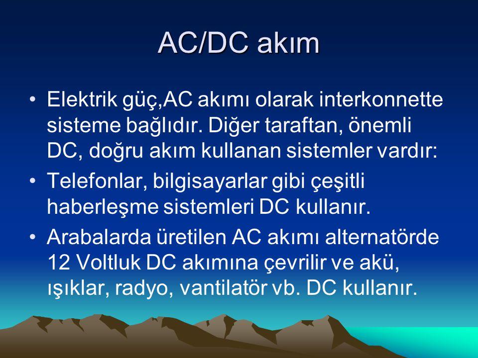 AC/DC akım Elektrik güç,AC akımı olarak interkonnette sisteme bağlıdır.