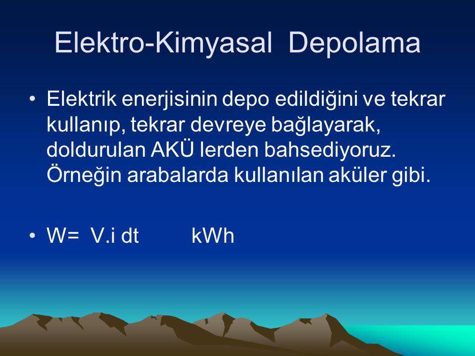 Elektro-Kimyasal Depolama Elektrik enerjisinin depo edildiğini ve tekrar kullanıp, tekrar devreye bağlayarak, doldurulan AKÜ lerden bahsediyoruz.