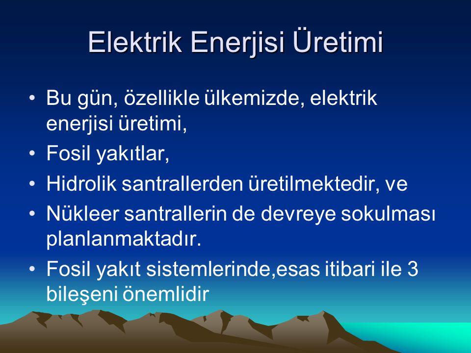 Elektrik Enerjisi Üretimi Bu gün, özellikle ülkemizde, elektrik enerjisi üretimi, Fosil yakıtlar, Hidrolik santrallerden üretilmektedir, ve Nükleer santrallerin de devreye sokulması planlanmaktadır.