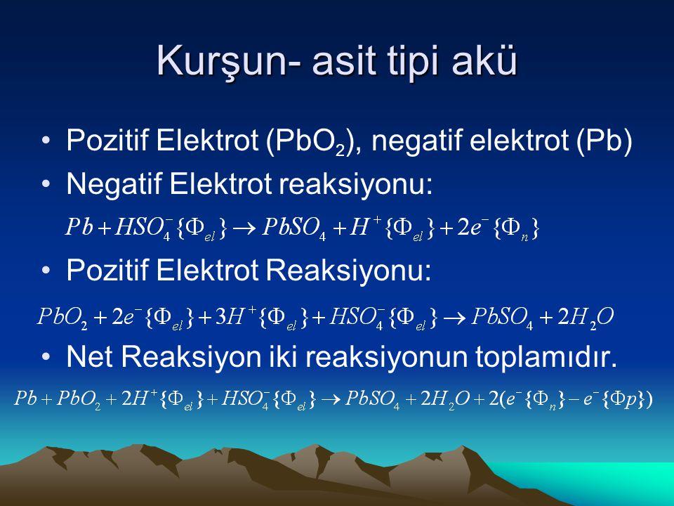 Kurşun- asit tipi akü Pozitif Elektrot (PbO 2 ), negatif elektrot (Pb) Negatif Elektrot reaksiyonu: Pozitif Elektrot Reaksiyonu: Net Reaksiyon iki reaksiyonun toplamıdır.