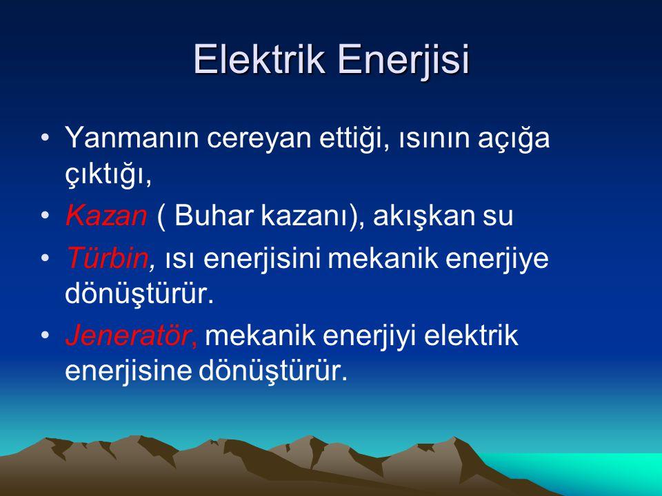 Elektrik Enerjisi Yanmanın cereyan ettiği, ısının açığa çıktığı, Kazan ( Buhar kazanı), akışkan su Türbin, ısı enerjisini mekanik enerjiye dönüştürür.