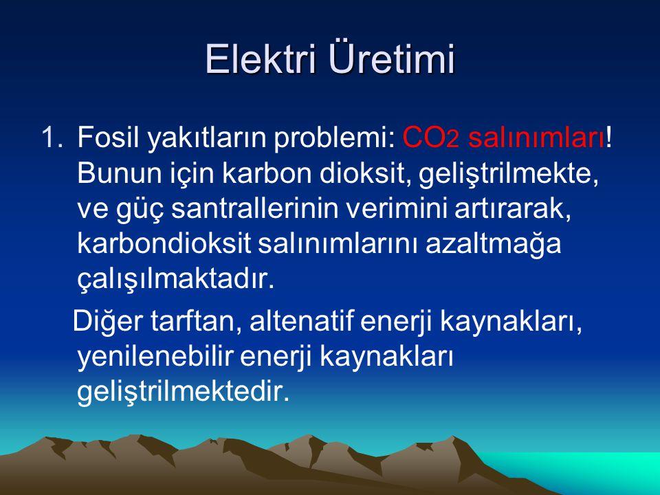 Elektri Üretimi 1.Fosil yakıtların problemi: CO 2 salınımları.