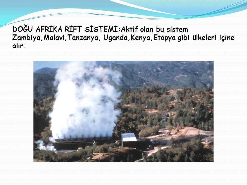 DOĞU AFRİKA RİFT SİSTEMİ: DOĞU AFRİKA RİFT SİSTEMİ:Aktif olan bu sistem Zambiya,Malavi,Tanzanya, Uganda,Kenya,Etopya gibi ülkeleri içine alır.