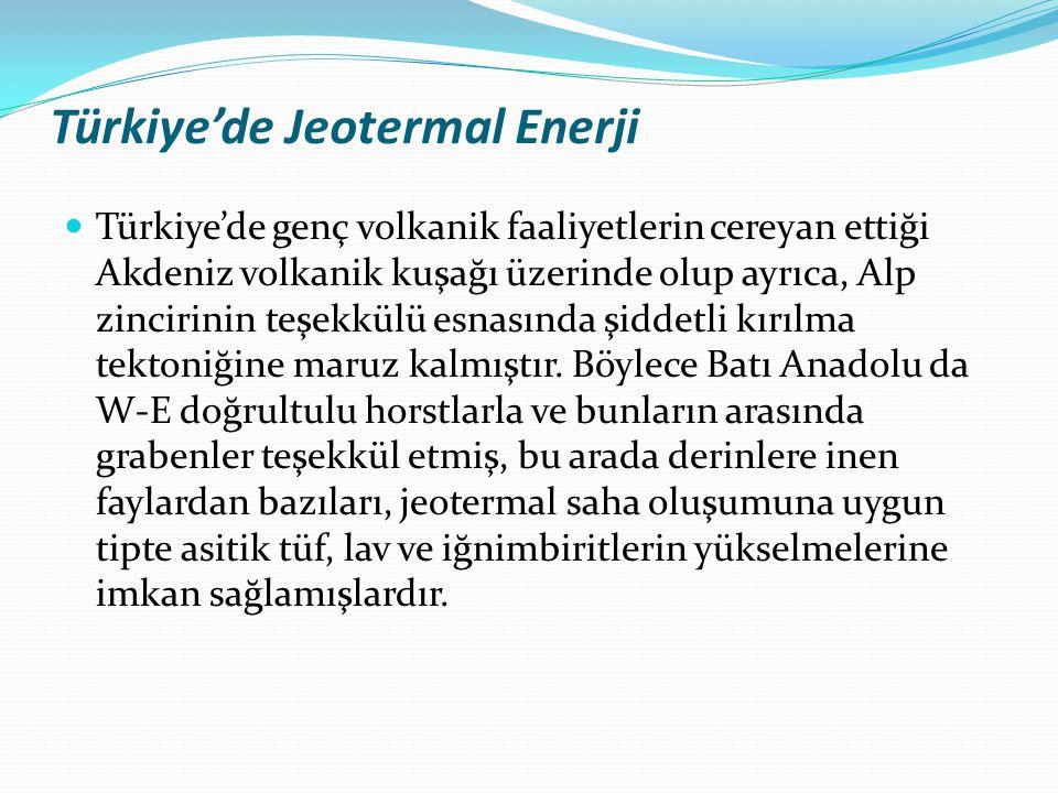 Türkiye'de Jeotermal Enerji Türkiye'de genç volkanik faaliyetlerin cereyan ettiği Akdeniz volkanik kuşağı üzerinde olup ayrıca, Alp zincirinin teşekkü