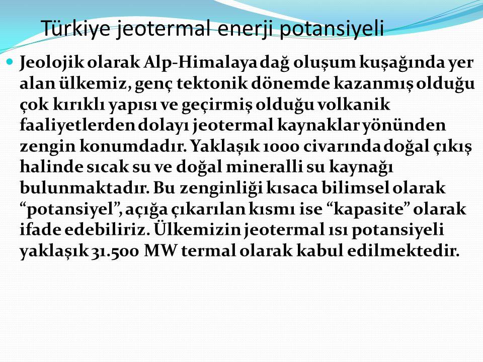 Türkiye jeotermal enerji potansiyeli Jeolojik olarak Alp-Himalaya dağ oluşum kuşağında yer alan ülkemiz, genç tektonik dönemde kazanmış olduğu çok kır