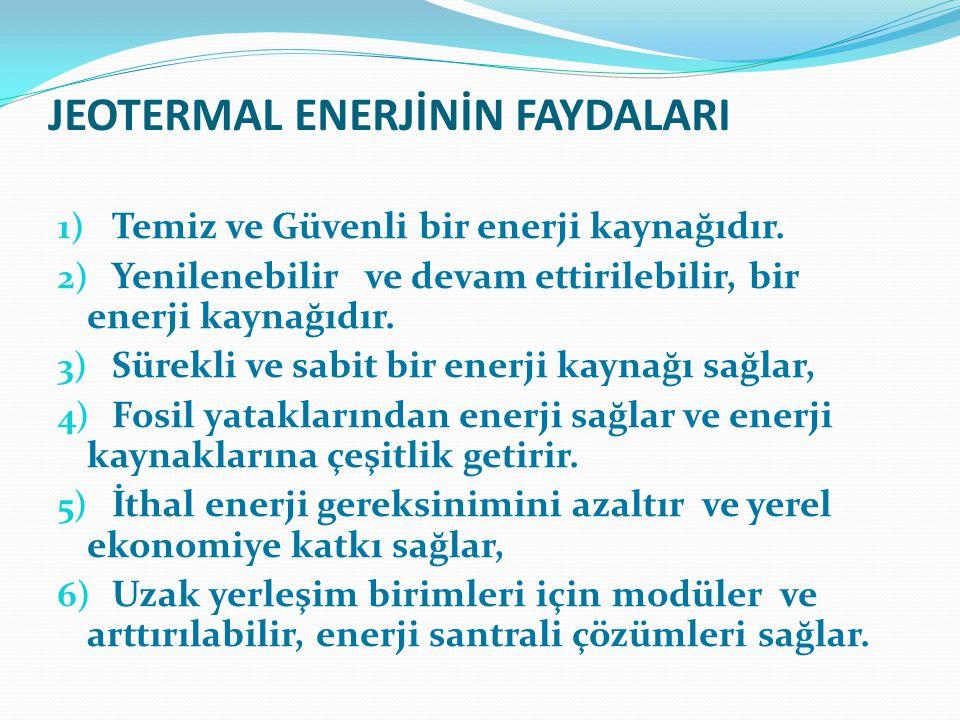JEOTERMAL ENERJİNİN FAYDALARI 1) Temiz ve Güvenli bir enerji kaynağıdır. 2) Yenilenebilir ve devam ettirilebilir, bir enerji kaynağıdır. 3) Sürekli ve
